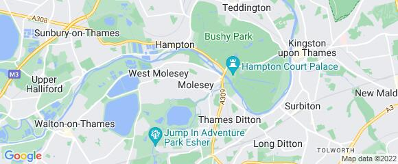 Location map for carpet fitter in Molesey, Surrey, KT8