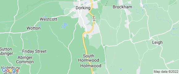 Location map for carpet fitter in North Holmwood, Surrey, RH5