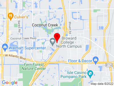 Google Map of North Regional/Broward College Library, Coconut Creek Boulevard, Coconut Creek, FL