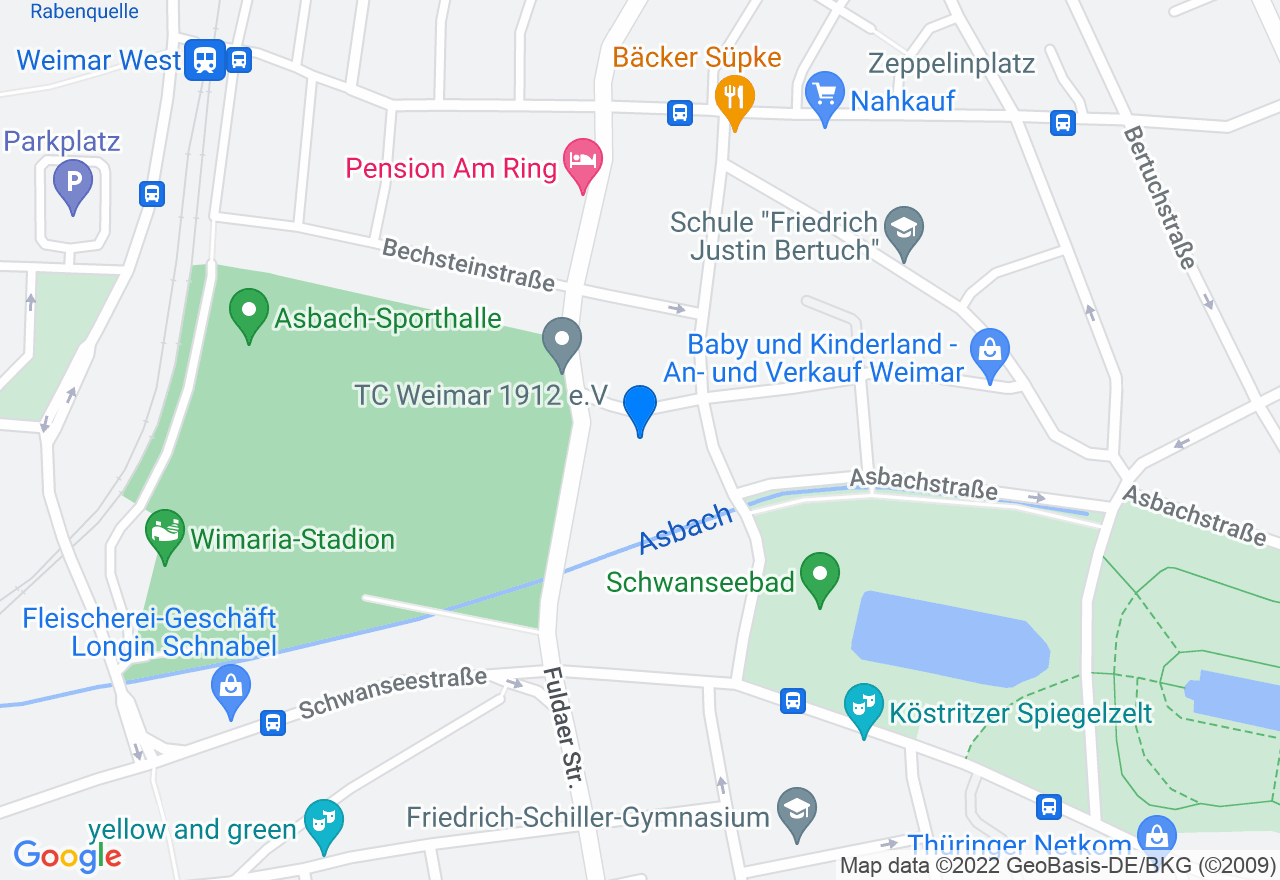 Google Map of Polizeisportverein Weimar e.V. Müllerhartungstraße 23 99423 Weimar
