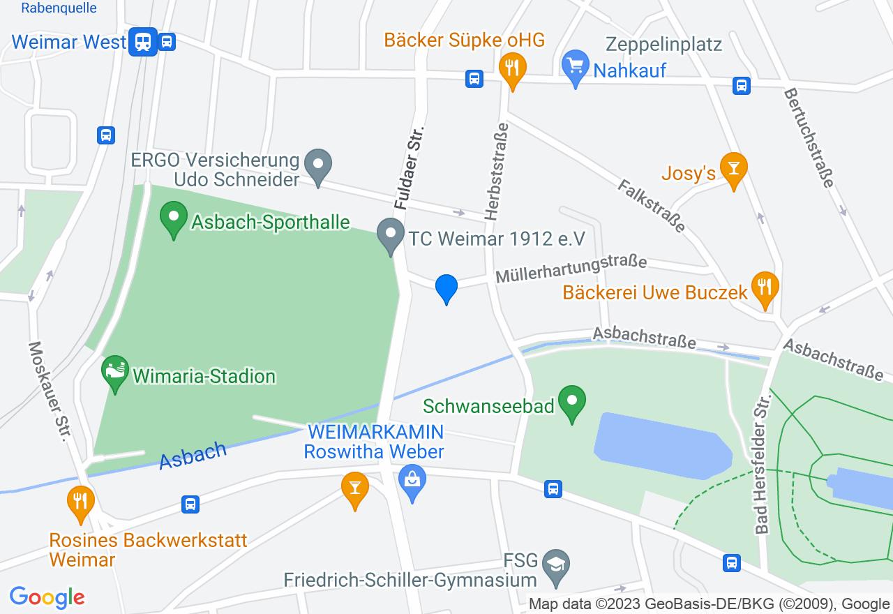 Google Map of Polizeisportverein Weimar e.V. Müllerhartungstraße 23 99423 Weimar