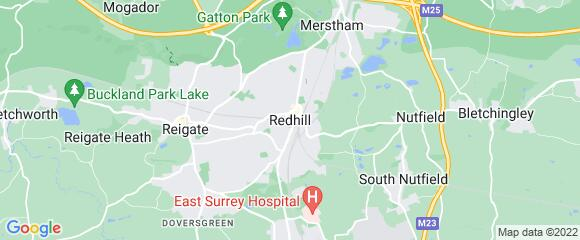 Location map for carpet fitter in Redhill, Surrey, RH1