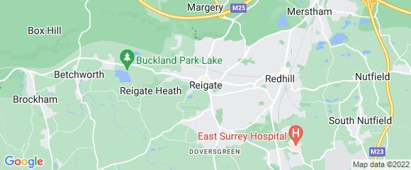 Location map for carpet fitter in Reigate, Surrey, RH2