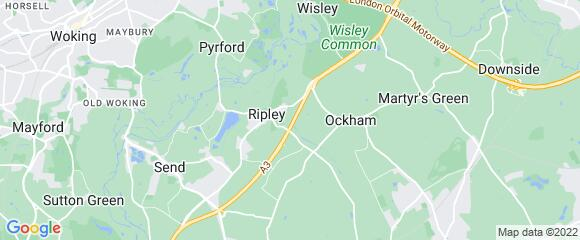 Location map for carpet fitter in Ripley, Surrey, GU23