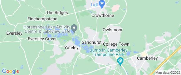 Location map for carpet fitter in Sandhurst, Surrey, GU47