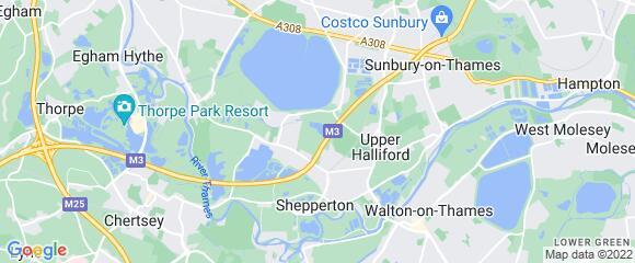 Location map for carpet fitter in Shepperton, Surrey, TW17