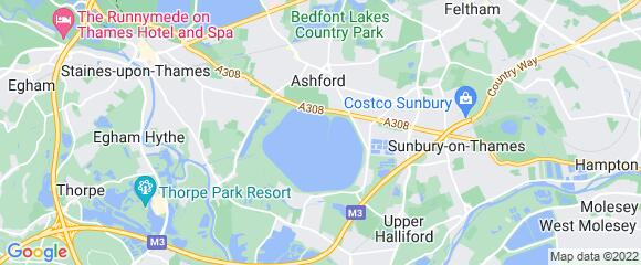 Location map for carpet fitter in Spelthorne, Surrey