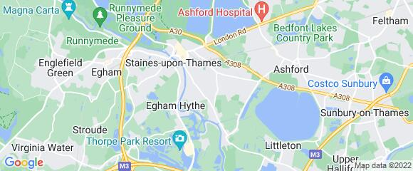 Location map for carpet fitter in Staines, Surrey, TW18