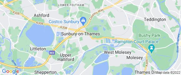 Location map for carpet fitter in Sunbury-on-Thames, Surrey, TW16