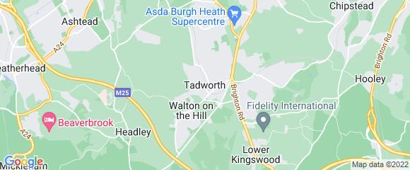 Location map for carpet fitter in Tadworth, Surrey, KT20