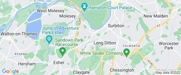 Location map for carpet fitter in Thames Ditton, Surrey, KT7