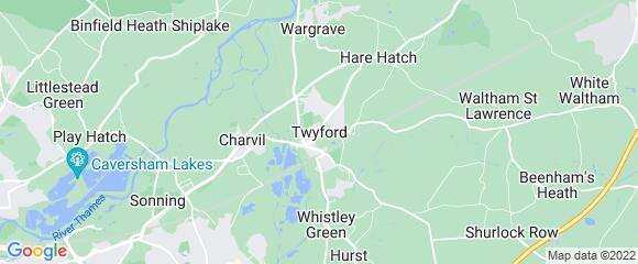 Location map for carpet fitter in Twyford, Berkshire, RG10