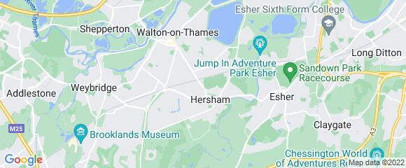 Location map for carpet fitter in Walton-on-Thames, Surrey, KT12