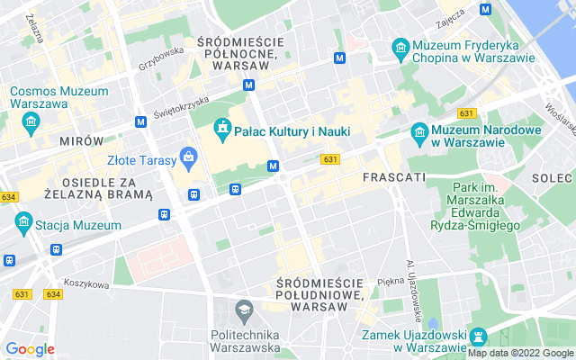 Show map of Warsaw