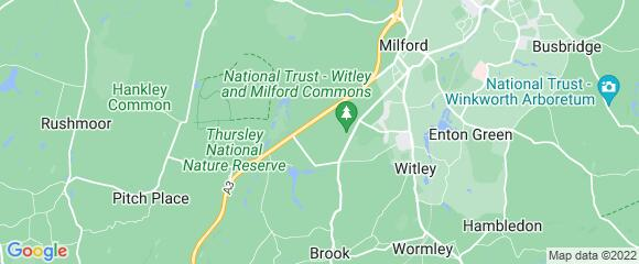 Location map for carpet fitter in Waverley, Surrey