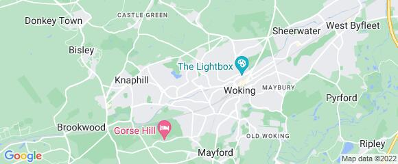 Location map for carpet fitter in Woking, Surrey, GU21