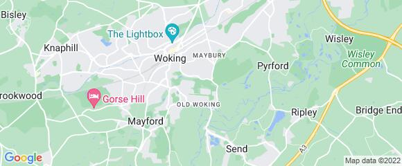Location map for carpet fitter in Woking, Surrey, GU22