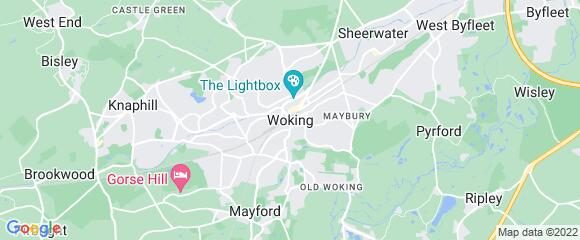 Location map for carpet fitter in Woking, Surrey