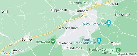 Location map for carpet fitter in Wrecclesham, Surrey, GU10