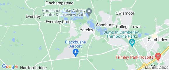 Location map for carpet fitter in Yateley, Berkshire, GU46