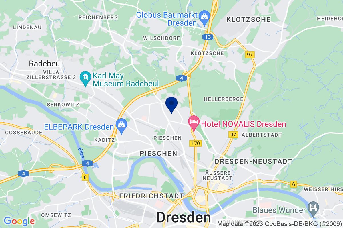 Google Map of bdp Dresden, Hubertusstraße 37, 01129 Dresden