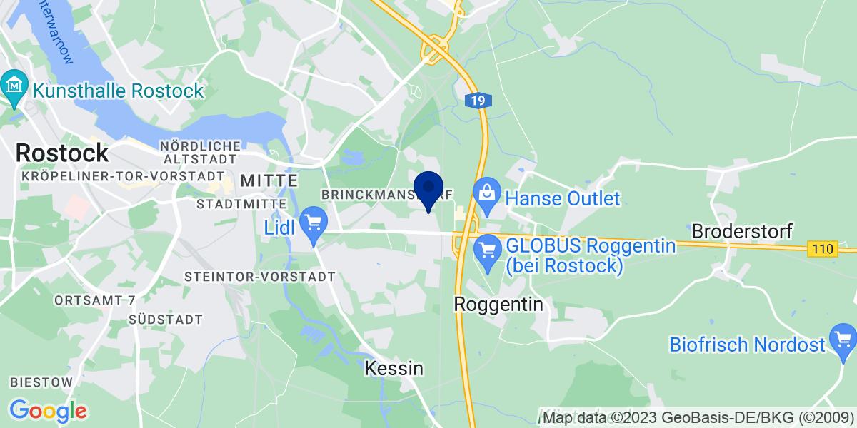 Google Map of bdp Rostock, Kunkeldanweg 12 18055 Rostock