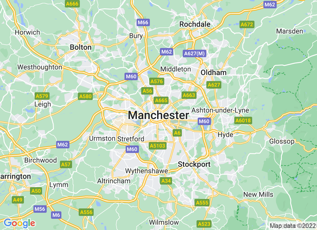 Google Map of manchester, United Kingdom