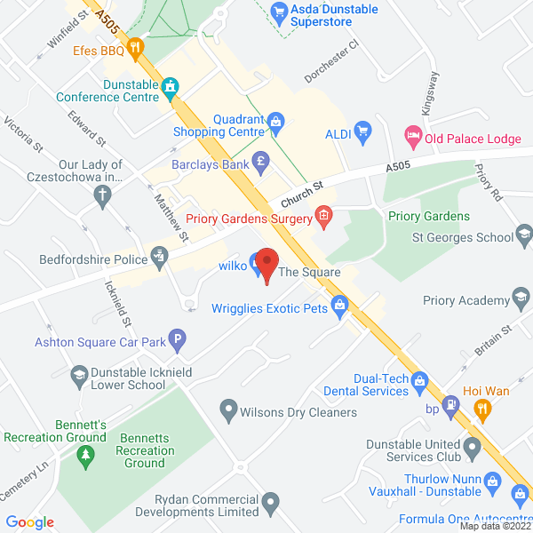 Map showing the location of the 5th Dunstable Scout Group Jumble Sale on 23rd February 2019