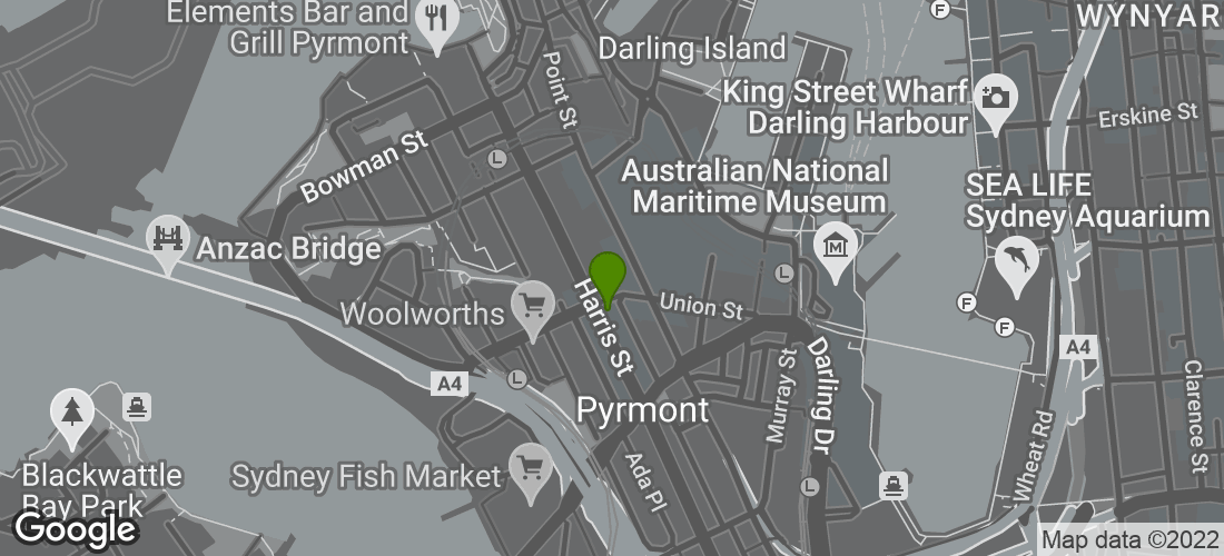 Google Map of Harlequin Inn, Harris Street, Pyrmont, Sydney NSW Australia