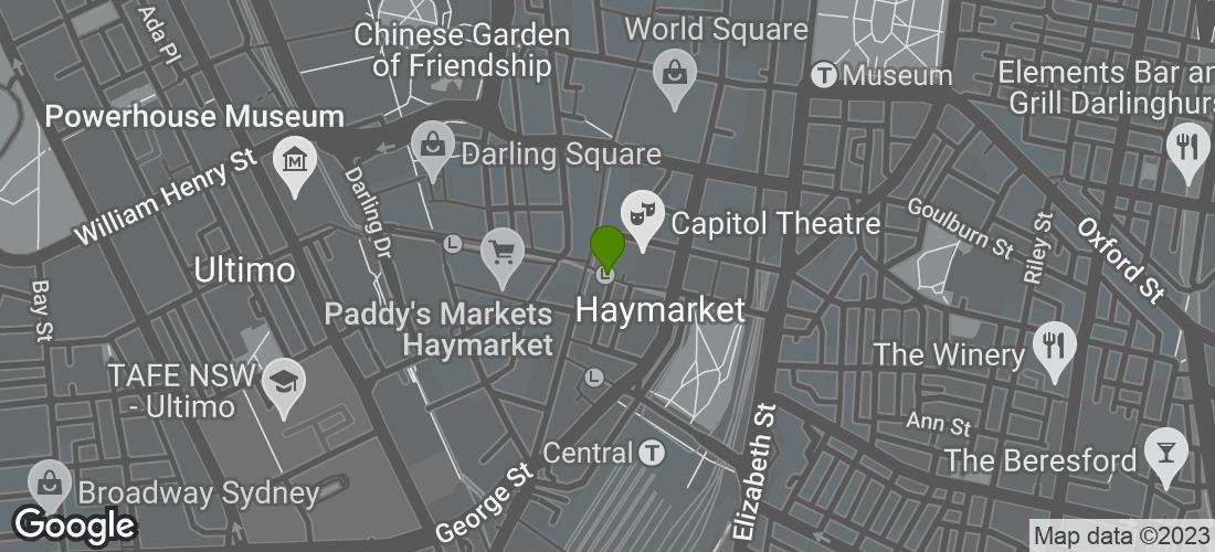 Google Map of the Palace Hotel, Sydney NSW Australia