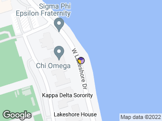 Map showing location of Chi Omega