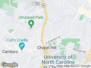 Map showing location of NU: PR Lot/UNC Hospitals