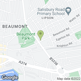 Map of Beaumont Villa Surgery in Plymouth, devon