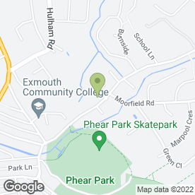 Map of Phear Park Approach Golf Course in Exmouth, devon