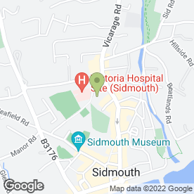 Map of Sidmouth Health Centre in Sidmouth, devon