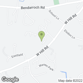 Map of West Hill Primary School in West Hill, Ottery St. Mary, devon