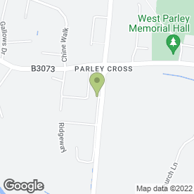 Map of Parley Cross Post Office in West Parley, Ferndown, dorset