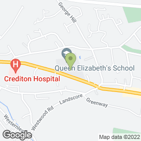 Map of Q E Academy Trust in Crediton, devon