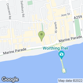 Map of Luna Italian Restaurant in Worthing, west sussex