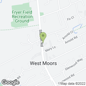 Map of Smile Team Dental Care in West Moors, Ferndown, dorset