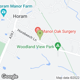 Map of Manor Oak Surgery in Horam, Heathfield, east sussex