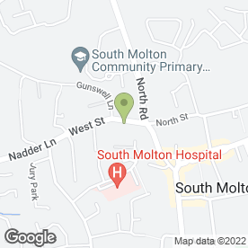 Map of J Westacott & Son Funeral Services in South Molton, devon