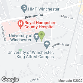 Map of UNIVERSITY OF WINCHESTER in Winchester, hampshire