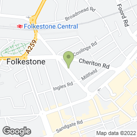 Map of Frederic Hall in Folkestone, kent