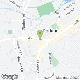Map of Dorking Aquatic Centre in Dorking, surrey