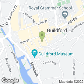 Map of The Continental Cafe in Guildford, surrey