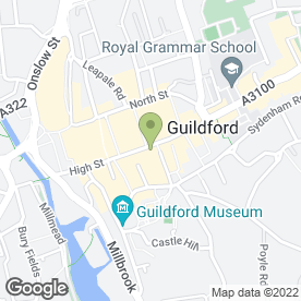 Map of Olivetto Restaurant in Guildford, surrey