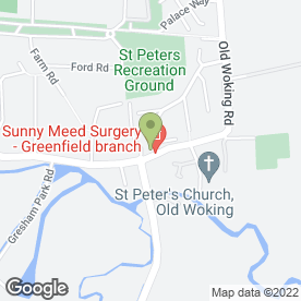 Map of Greenfield Surgery in Woking, surrey