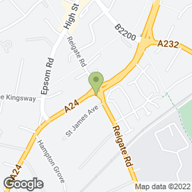 Map of All Hour Car Hire in Epsom, surrey