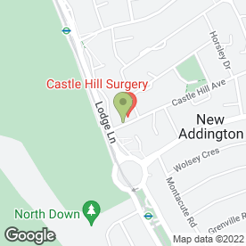 Map of Castle Hill Surgery in New Addington, Croydon, surrey